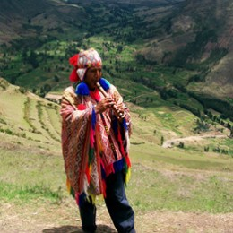 Quechuan pan flautist in Andes